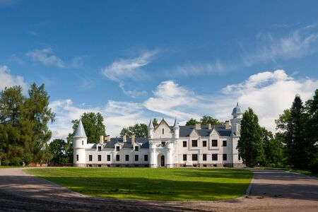 A photo of an old small white castle in South of Estonia  Editorial