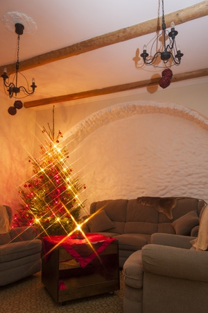 Dark living room furnished with big and soft couch and armchairs and a decorated natural christmas tree   fir-tree in the left corner Stock Photo - 16297568