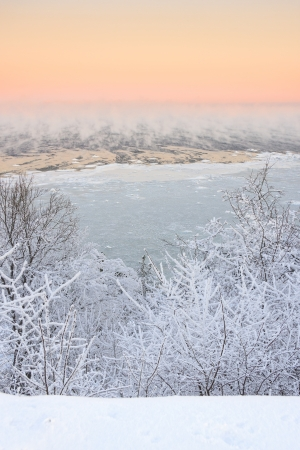 Steaming and icy sea and snowy forest  at cold winter morning Stock Photo - 16101797