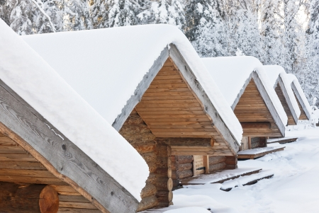 Snowy lodge roofss covered with snow at bright snowy day  Forest in background