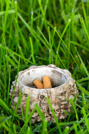 unwholesome: Ashtray with cigarette ends on green grass