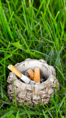 injurious: Ashtray with cigarette ends on green grass