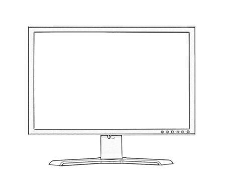 flatscreen: Illustration of widescreen flatscreen lcd monitor on white background Stock Photo