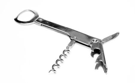 Chromed metal bottle opener on white background Stock Photo - 16576327
