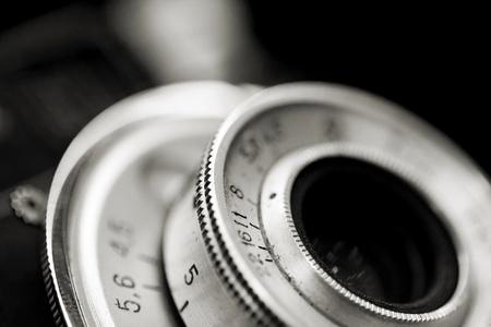 macro film: Closeup of old retro film camera lens