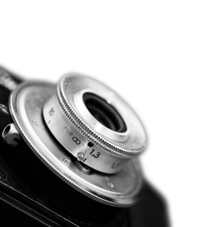 Closeup of old retro film camera lens isolated to white background Stock Photo - 16798602