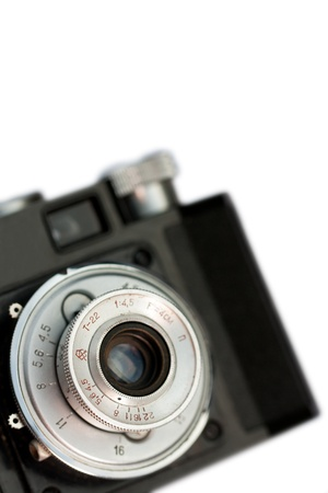 Closeup of old retro film camera lens isolated to white background Stock Photo - 16798636