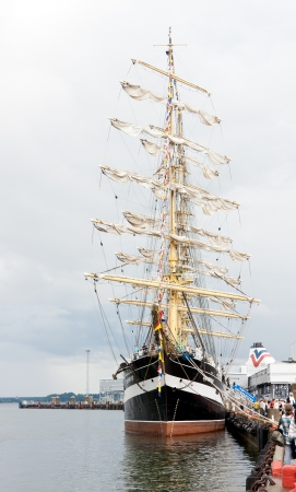 former years: TALLINN, ESTONIA - JULY 2011 - The Kruzenshtern or Krusenstern ship at Tallinn Maritime Days. After 20 years Krusenstern returned to her former home port. The Kruzenshtern is a four masted barque and tall ship that was built in 1926. It is currently the s