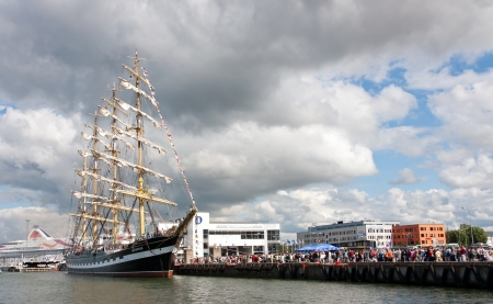 barque: TALLINN, ESTONIA - JULY 2011 - The Kruzenshtern or Krusenstern ship at Tallinn Maritime Days. After 20 years Krusenstern returned to her former home port. The Kruzenshtern is a four masted barque and tall ship that was built in 1926. It is currently the s