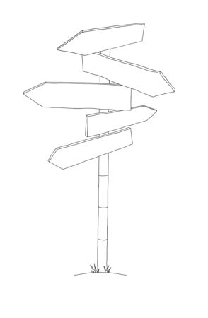 sign post: Illustration of an isolated blue striped sign post with many arrows pointing in different directions. Stock Photo