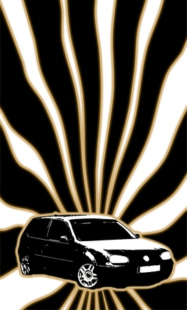 lightbeam: Vintage or retro style background ofa a passenger wehicle in front of black and white light beams