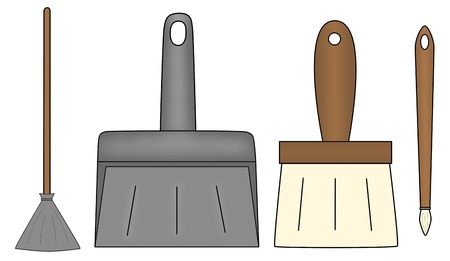 besom: An illustration of besom, shovel and two brushes of which one is large and the other is thin.
