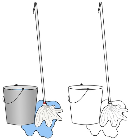 mop floor: Colored and colorless illustrations of water bucket, floor cleaning broom or mop and water pool. Illustration
