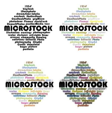 microstock: Names of several microstock agencies set into a diamond shape Stock Photo