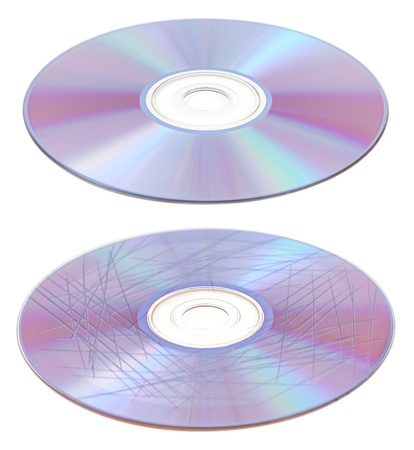 Scratched and clean cd of dvd disc isolated to white background