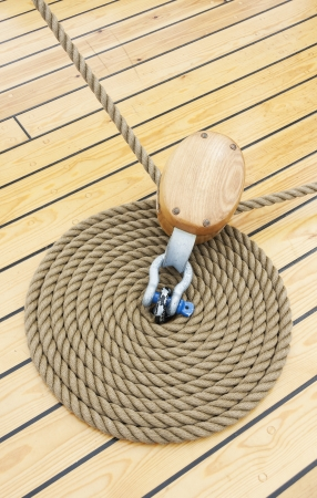 Rope in a spiral shae on ship floor