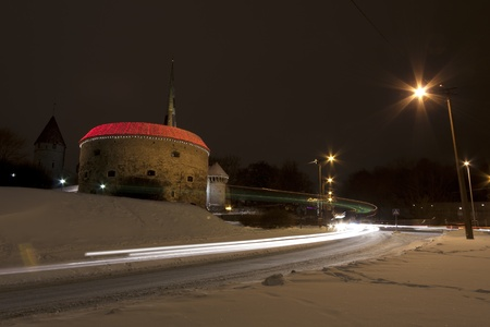 Car light trails in Tallinn, Estonia. Cannon Tower known as Fat Margareta in background.