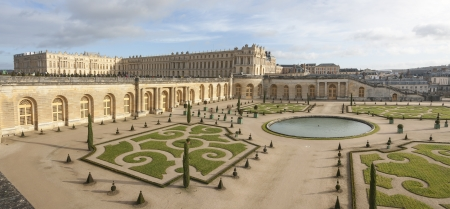 Panorama of Versaille palace and its garden in France
