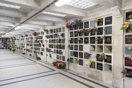 Columbarium of the Pere Lachaise Cemetery on January 01, 2013 in Paris, France