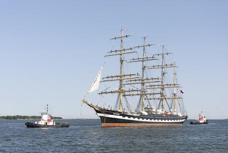 TALLINN, ESTONIA - JULY 12, 2013: Kruzenshtern or Krusenstern sail ship arrives to Tallinn Maritime Days on July 12, 2013 in Tallinn, Estonia