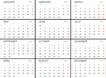 Solid white 2014 calendar template. Weeks start with Mondays.