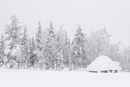 Small hut under thick snow layer in front of snowy forest at winter Stock Photo