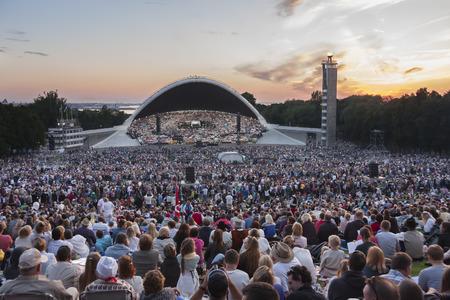 Tallinn, Estonia - July 05, 2014  Crowd at the Estonian XXVI national song festival at Tallinna Lauluvaljak in Tallinn, Estonia on July 05, 2014
