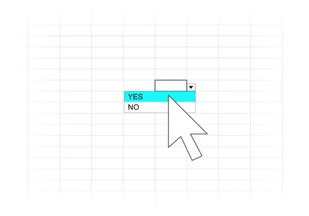 whether: Mouse cursor over the option to choose whether Yes or No on a spreadsheet.