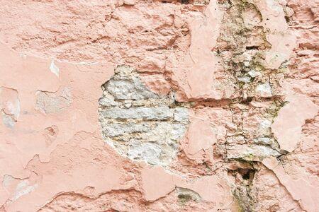 pared rota: Primer plano de una pared de piedra caliza rota