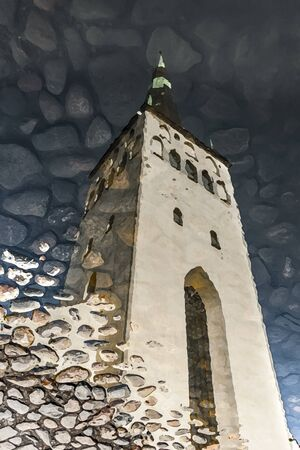 Illustration of a reflection of St. Olaf church tower on water in Tallinn, Estonia
