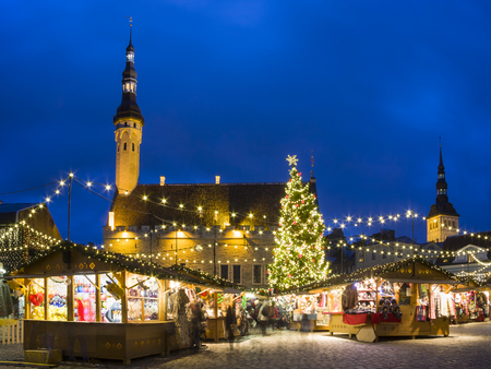 Christmas market in the old town of Tallinn, Estonia