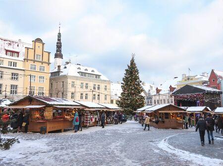 Snowy christmas market in the old town of Tallinn, Estonia on January 06, 2017 Editorial