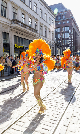 HELSINKI, FINLAND - JUNE 10, 2017: Helsinki Samba Carnaval celebration on the streets of Helsinki, Finland on June 10, 2017