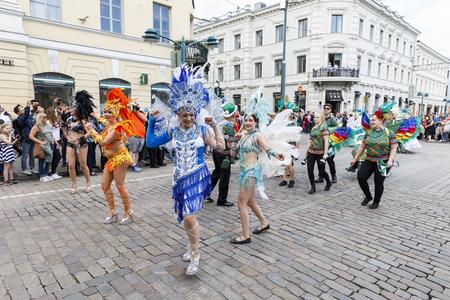 suomi: HELSINKI, FINLAND - JUNE 10, 2017: Helsinki Samba Carnaval celebration on the streets of Helsinki, Finland on June 10, 2017