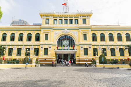 SAIGON, VIETNAM - FEBRUARY 23, 2018: Exterior of post office in Saigon, Vietnam Stock Photo - 111810911