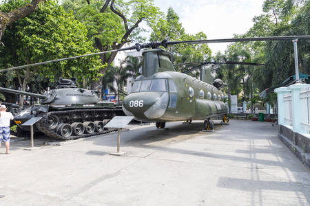 SAIGON, VIETNAM - FEBRUARY 23, 2018: US Army helicopter in a war museum in Saigon, Vietnam