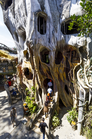 DA LAT, VIETNAM - FEBRUARY 20, 2018: Architecture of a Crazy House in Dalat, Vietnam
