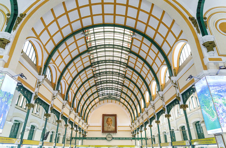 SAIGON, VIETNAM - FEBRUARY 23, 2018: Interior of post office in Saigon, Vietnam Stock Photo - 111810952