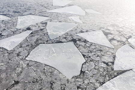 Ice sheets float in ice cold Baltic sea Standard-Bild