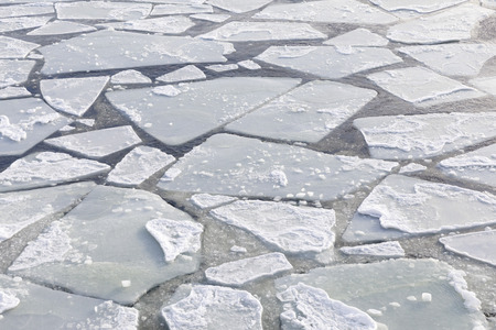 Ice sheets float in ice cold Baltic sea