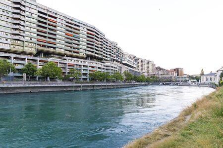 GENEVA; SWITZERLAND - JUNE 25, 2018: Urban street view of Geneva, capital of Switzerland in summer 2018