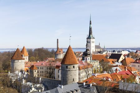 Panoramic cityscape view of old town of Tallinn, capital of Estonia