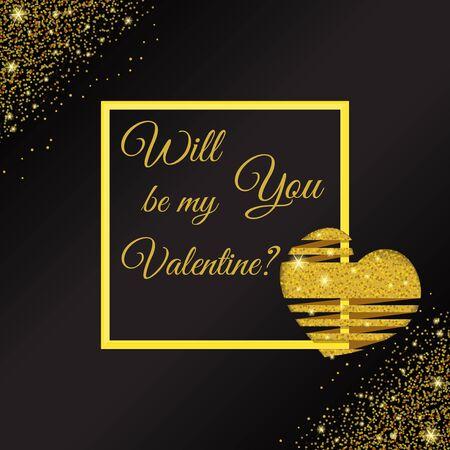 Elegant golden glitter background for valentine day