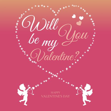 Will you be my valentine, neon color flat card