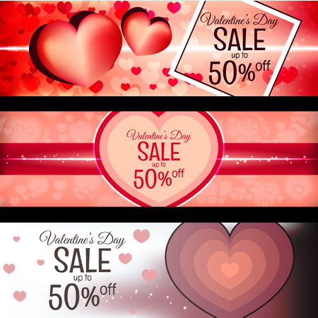 Three beautiful banners for valentines day discount