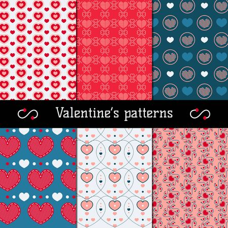 set of six flat colorful beautiful patterns for valentines day