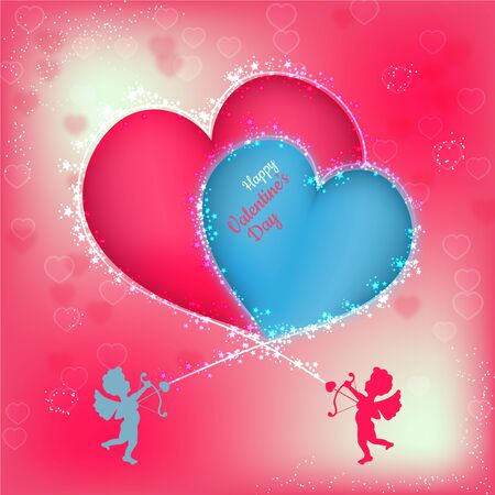 Blurred abstract background with two angels forming heart shape for valentine day Ilustração