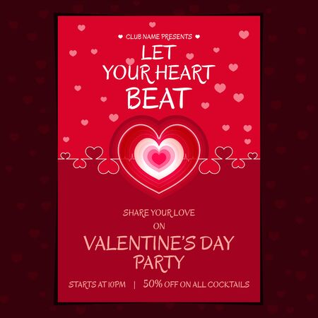 Beautiful themed heart beat poster for valentines day party