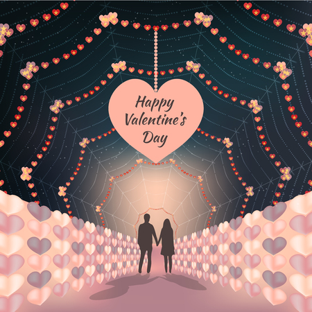 Silhouette couple holding hands on beautiful valentines days background