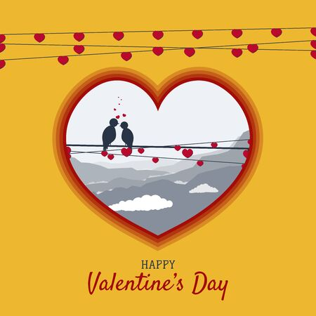 birds on wire in love, heart shape for valentines day Illustration